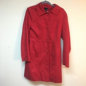 Red trench with fun polka dot lining H&M cotton